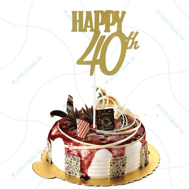 1 Piece Gold Happy 40th Topper Glitter Silhouette Wedding Cake