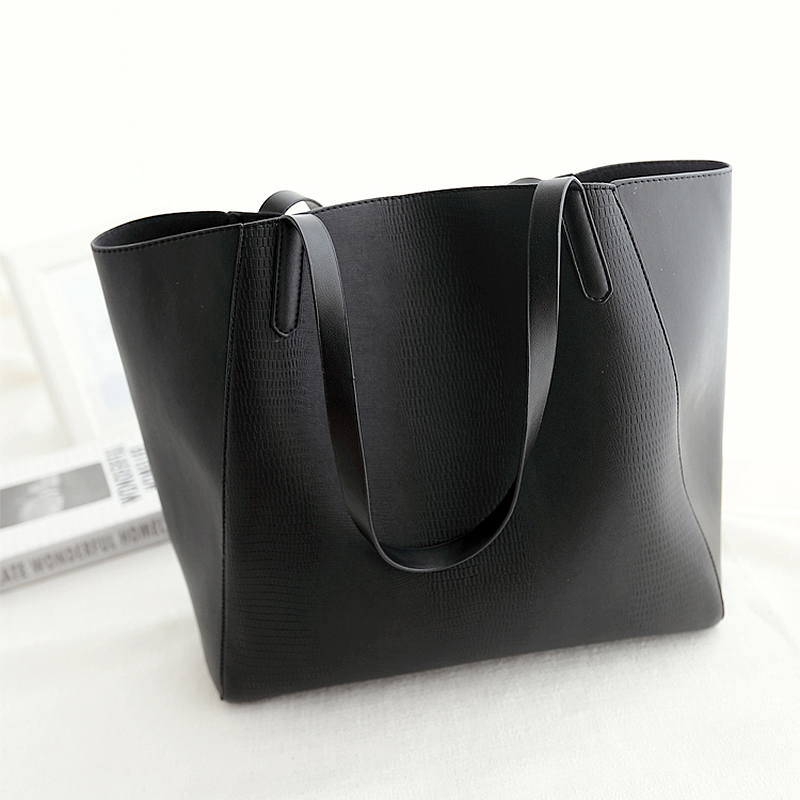 2015 New Women Tote Bags Designers Handbags PU Leather Black ...