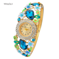 YIYULOLA Women Watch Crystal Enamel Flower Bracelet Watch 2017 Fashion Luxury Alloy Quartz Wristwatches For Party
