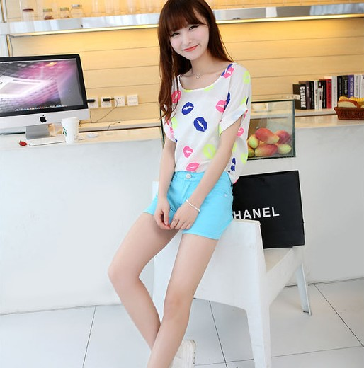 2014 Summer Top Korean Japanese Clothes Colorful Kiss Lips Print Blouse Women Short Sleeve ...