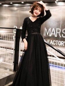 Image 4 - Weiyin 2020 ארוך פורמליות ערב שמלות שחור נשים של אלגנטי V צוואר ארוך שרוול נצנצים נשף ערב מסיבת שמלות WY1273