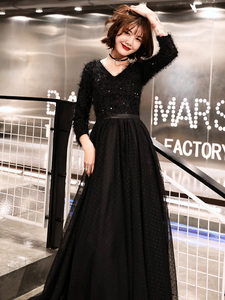 Image 4 - weiyin 2020 Long Formal Evening Dresses Black Womens Elegant V neck Long Sleeve Sequined Prom Evening Party Gowns WY1273