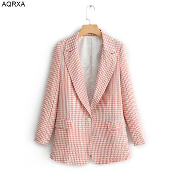 Women plaid pink blazer SML one button pick lapel cotton polyester mixed drop shipping long sleeve office lady