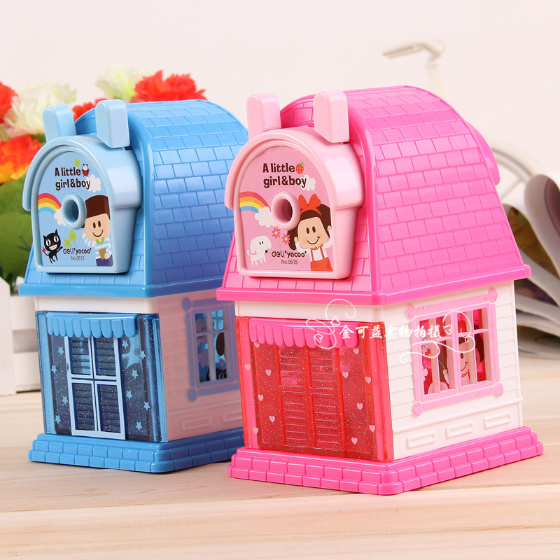 1 Pc Plastic Pencil Sharpeners For Children Cartoon House Big Size 136x93x155mm Mechanic ...
