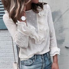 Feitong,, весна-лето, блузка с оборками, женская, повседневная, кружевная, в горошек, с круглым вырезом, белая рубашка, с длинным рукавом, топы, блузы для женщин# B