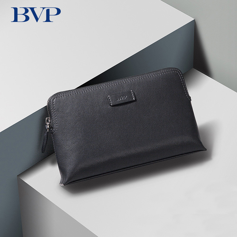 Famous Brand Design BVP High Quality Genuine Leather Men Clutch Fashion Cow Leather Zipper Man Long