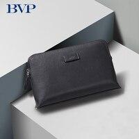 Famous Brand Design BVP High Quality Genuine Leather Men Clutch Fashion Cow Leather Zipper Man Long Wallet Weave Wrist Strap J50