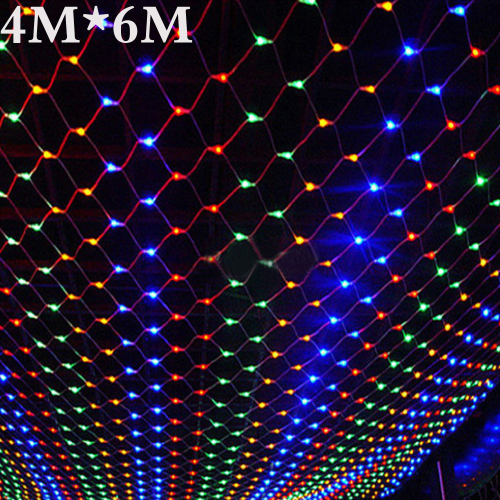 все цены на Waterproof 4m*6m net led christmas led net lights fairy lights mesh nets fairy lights Outdoor garden new year wedding holiday онлайн