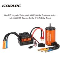 GoolRC Upgrade Waterproof RC Motor 3660 3300KV Brushless Motor & 60A ESC Combo Kit for RC Car 1/10 Truck Vehicle Rock Crawler