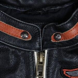 Image 2 - Maplesteed marca jaqueta de motocicleta do vintage crânio bordado 100% pele couro genuíno jaqueta moto casaco motociclista 086