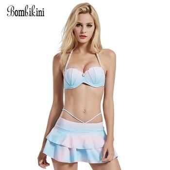 High Waist Swim Dress Mermaid Shell Bra Bikinis Set Push Up Swimwear Women Swimsuit Ruffle Bathing Suit  Tankini 1
