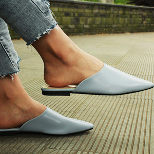 Summer Flats Lady Sandals Slippers Soild Color Slip On Pointed Toe Women Mules Outdoor Slipper Shoes Woman Slides(China)