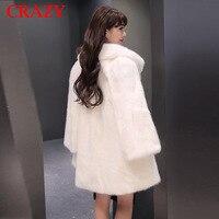 New 2018 Women Plus Size 6XL 5XL 4XL Fashion Middle Long Luxury Fake Mink Fur Coats Black White Faux Fur Coat