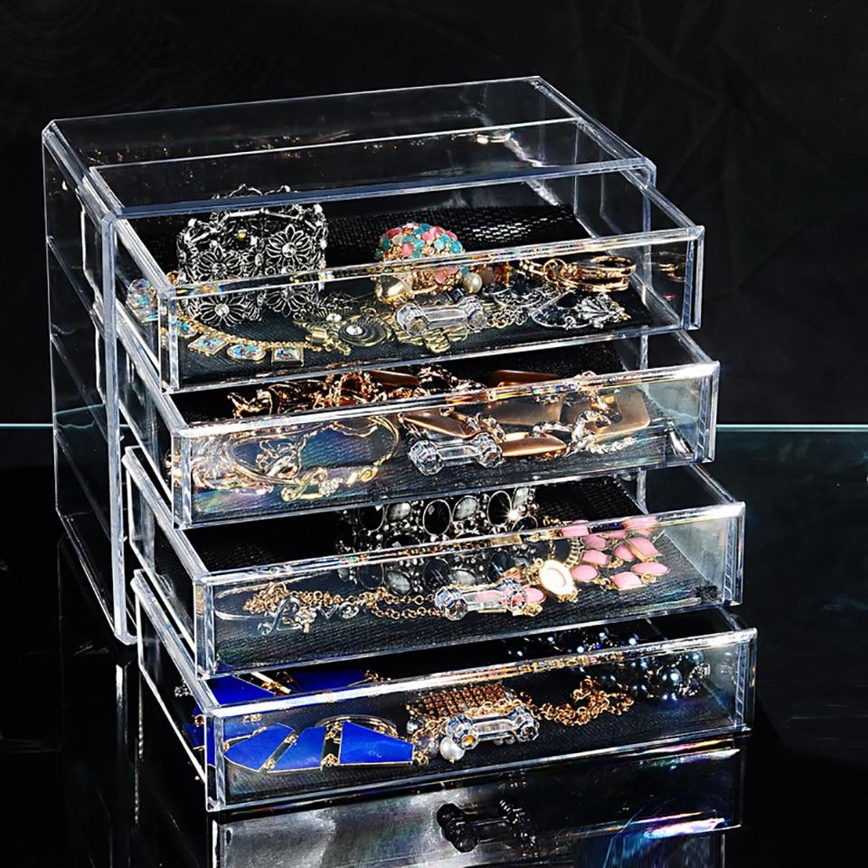 Transparent Acrylic Drawer Cosmetics Storage Box Storage Box Skin Care Products Grid Shelf Dressing Table