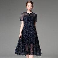 100% шелк шифоновое платье Офисные женские туфли Для женщин летние платья темно голубой цвет с принтом