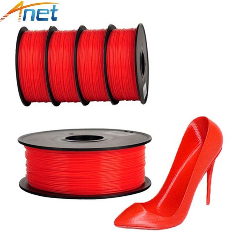 Anet 10pcs PLA Filament 3D Printer Filament 1.75mm 1Kg/spool Plastic Rod Rubber Ribbon Consumables Material 4 colors for option