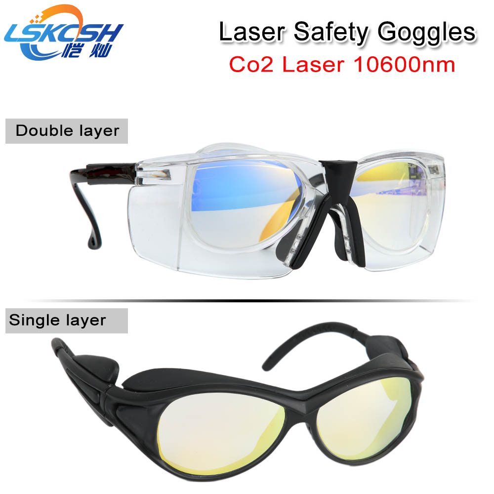 LSKCSH 10600nm New type Laser Safety Goggles Style B Shield Protection eyes glasses for Co2 Laser cutting or Medical laser double frame protection goggles glasses eyewear for co2 carbon dioxide laser 10600nm 10 6um