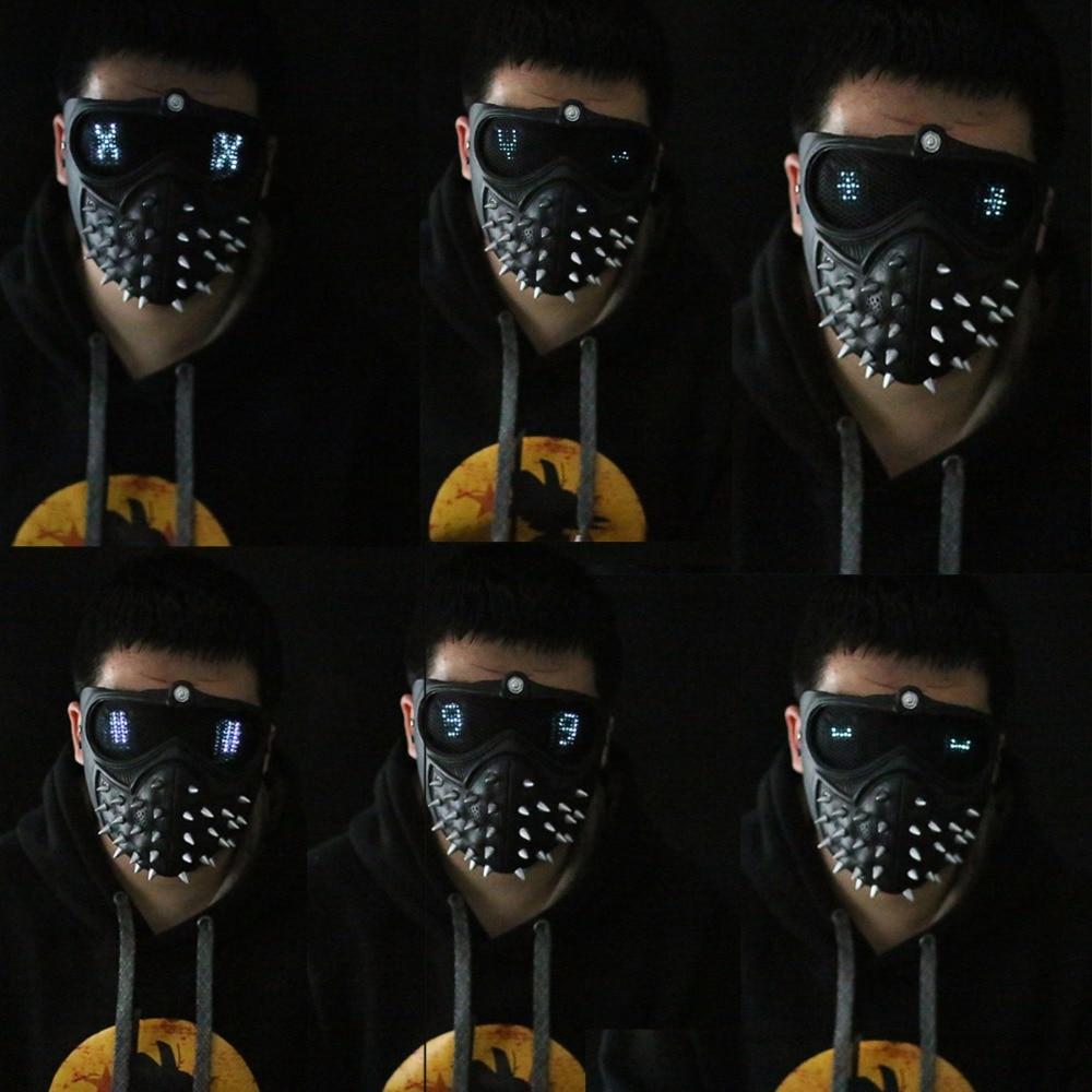 Watch Dogs 2 Mask Marcus LED Light Mask Rivet Face Mask Cosplay Handmade Mask2