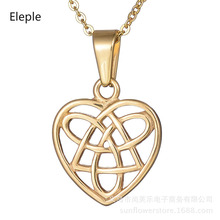 Eleple Creative Love Chinese Knot Stainless Steel Necklaces Fashion Heart Hollow Fine Sweater Necklace Jewelry Factory S-N281