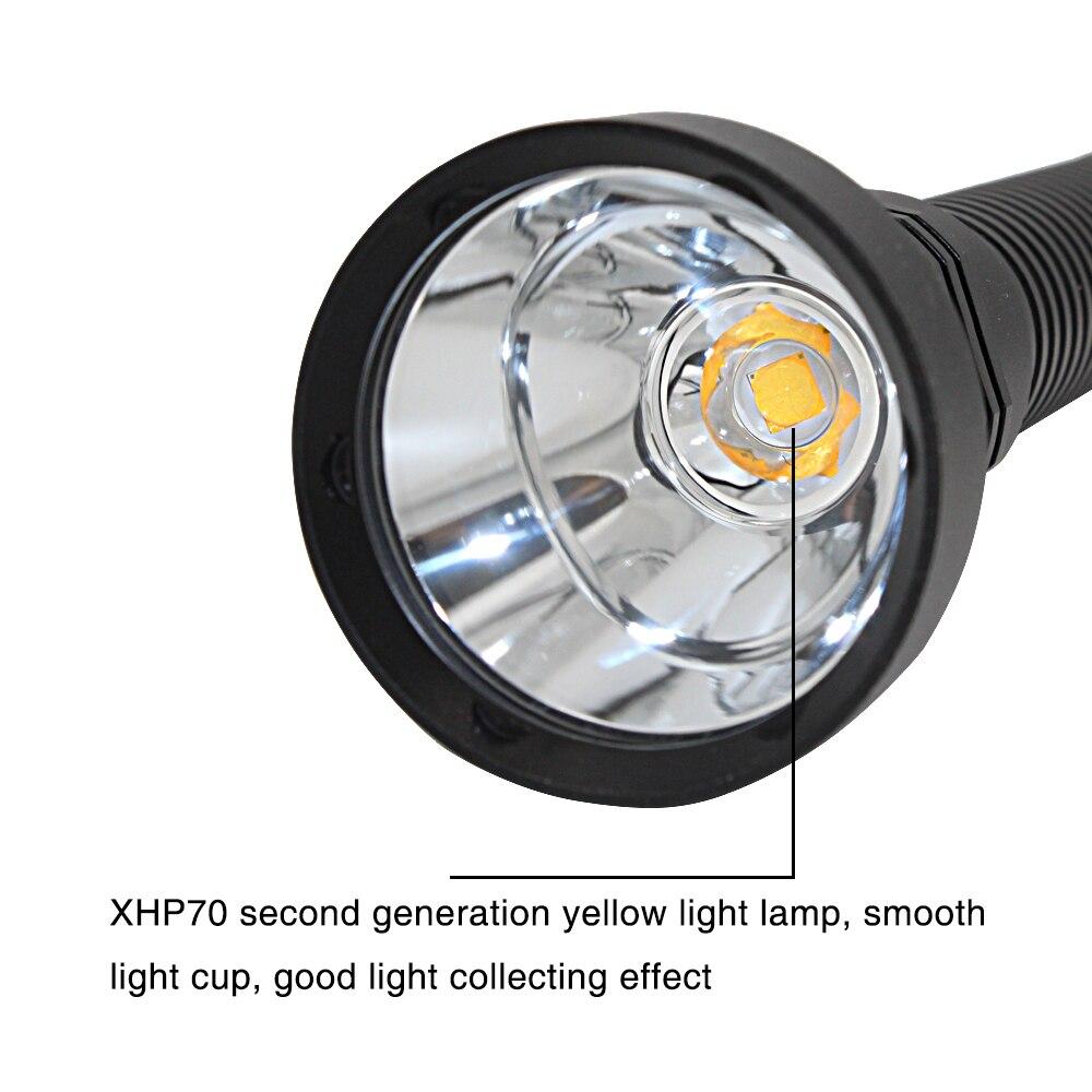 Image 5 - Super Brightness XHP70.2 LED Yellow Light 4000 Lumens Diving Flashlight Tactical 26650 Torch Underwater 100M Waterproof-in LED Flashlights from Lights & Lighting