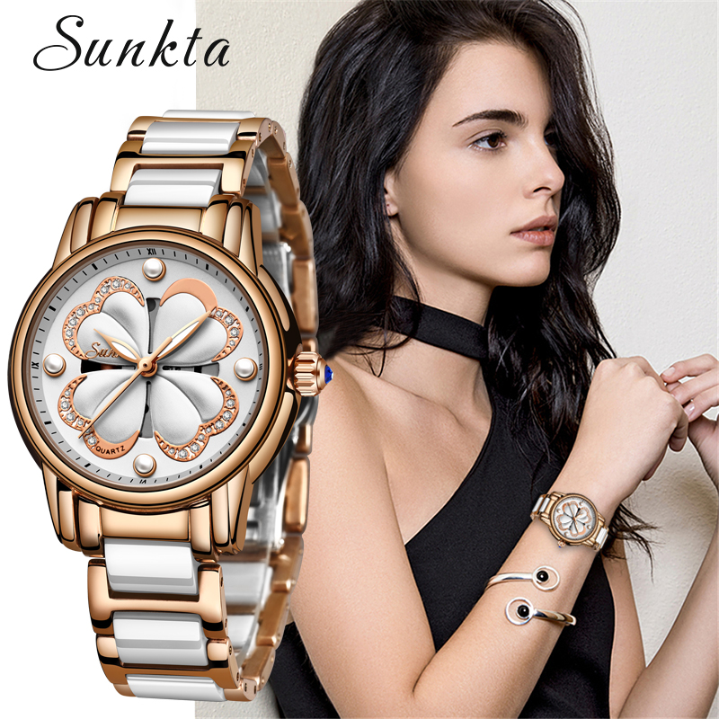 SUNKTA Women Luxury Watch Female Rose Gold Elegant Diamond Ladies Quartz Wrist Watch Waterproof Ceramic Watch Reloj Mujer Gift in Women 39 s Watches from Watches