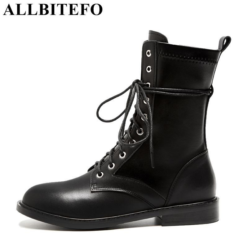 ALLBITEFO New arrival genuine leather thick heel women boots fashion brand high heels ankle boots women winter snow boots shoes zorssar 2018 new fashion women shoes round toe thick heel ankle snow boots patent leather high heels womens boots winter