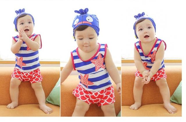 2015 el nuevo niño del bebé del traje de baño dividido traje de baño los niños traje de baño de tres sets