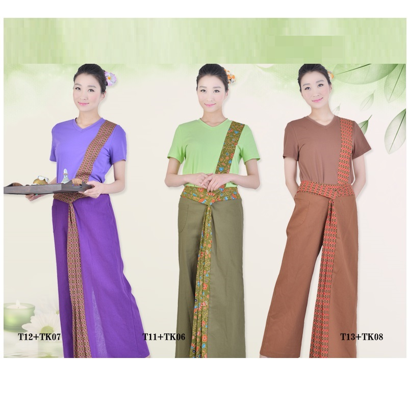 (1 Set/lot)wholesale Female Thai Massage Uniforms SPA Work Wear Beautician Clothing Southeast Asia Overalls