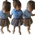 Новорожденных девочек одежда установить 2016 Blue Jean Рубашка + Ремень + Leopard Короткая Юбка Одежда Костюмы 1 Компл. малыша девушка одежда зима большой