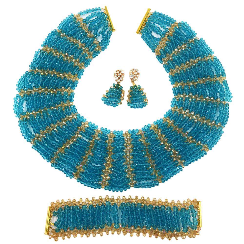 Fashion Lake Blue Gold Nigerian Wedding African Beads Jewelry Set Crystal Beaded Necklace Bridal Party Jewelry Sets SXK007