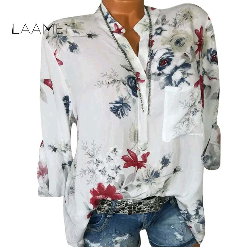 Laamei 2018 Autumn Fashion Chiffon V-neck Women Blouse Long Sleeve Shirts Floral Print Plus Size Top Casual Office Lady Blusas