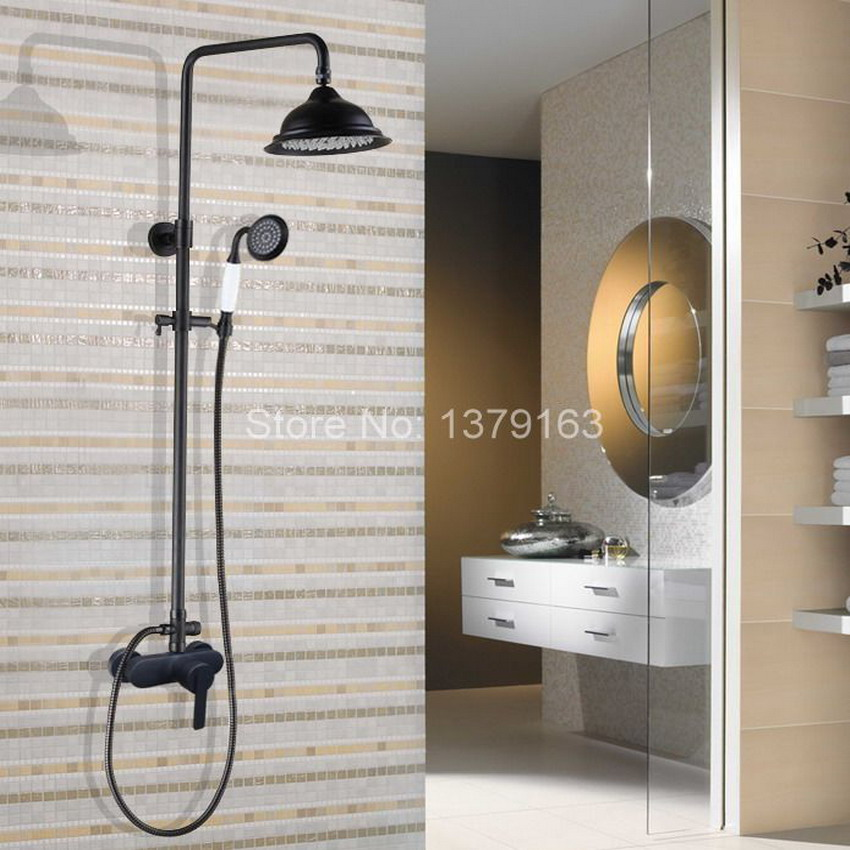 Black Oil Rubbed Brass Wall Mount Rain Shower System Mixer tap Faucet Set Telephone Ceramic Style Handheld Shower ahg157