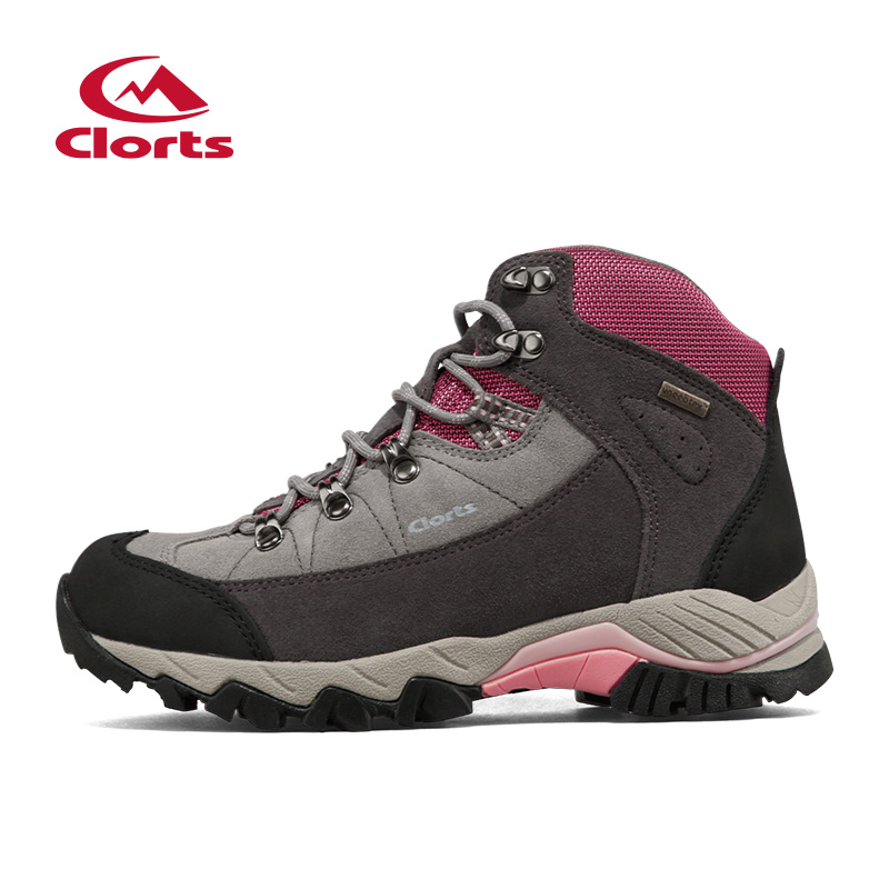 ФОТО Clorts Cow Suede Hik Mid-Cut Hiking Boots New Sport Shoes Women's Outdoor Hiking Shoes Waterproof Breathsble Shoes 3B010A
