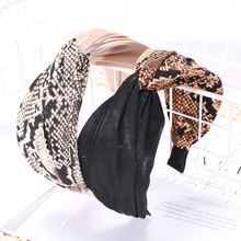 Snake Print Leopard Headband for Women Top Knot Animal Hair Accessories Summer Fashion Elegant Bands Kpop Headwear