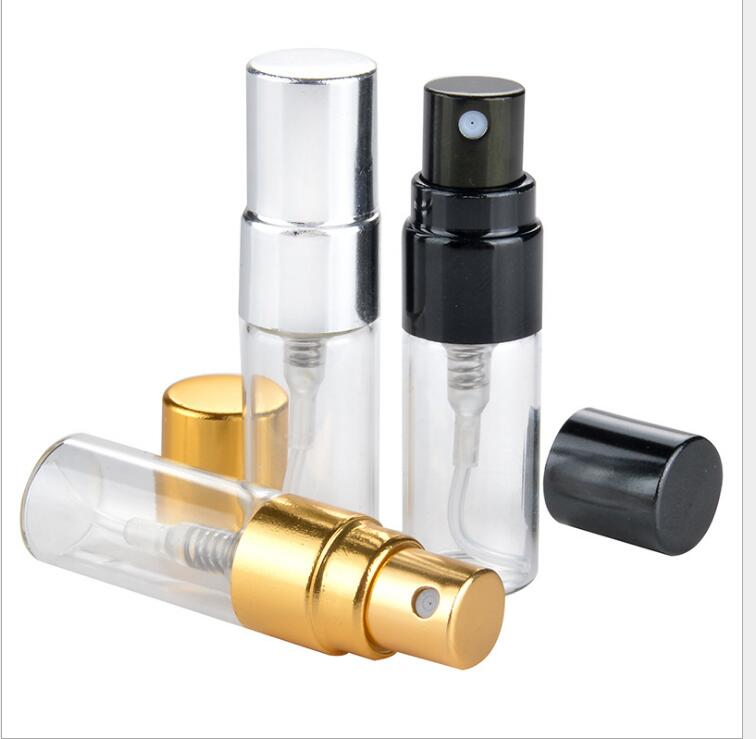 2ml 3ml 5ml glass bottle gold silve black fine mist sprayer for toner toilet water perfume