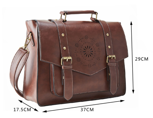 ECOSUSI Retro Faux Leather 14.7″ Laptop Crossbody Briefacase Messenger Bags Women Satchel Bags For School School Shoulder Bags