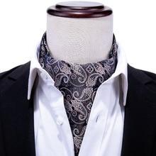 Barry.Wang British style Luxury Designer Mens Ascot Cravat Gifts Box Sets Paisley Tie Set 100% Silk Ties For Men Groom LJ-0017