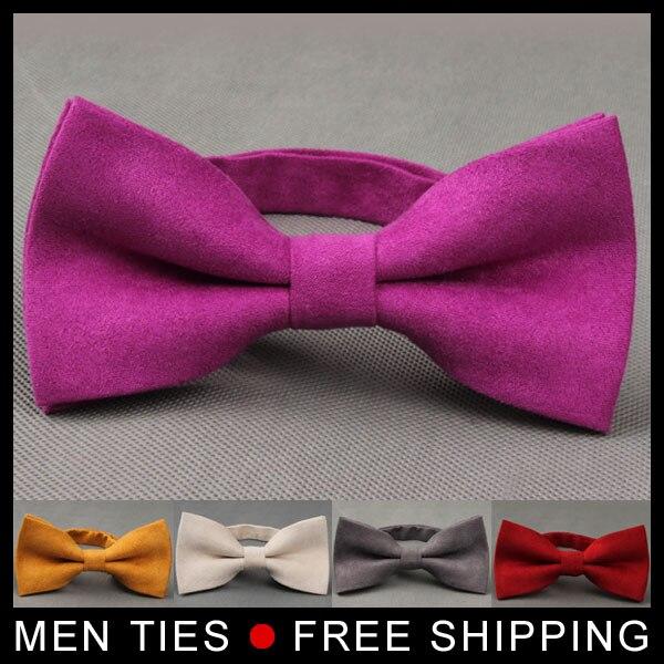 Mens Adjustable Suede Leather Bow Tie Pre Tied Formal dress suit Man Bow Tie Men Fashion Accessories Neck Bowtie