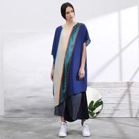 IRINAW100 original design new arrival 2018 summer oversize patchwork long asymmetrical silk women dress