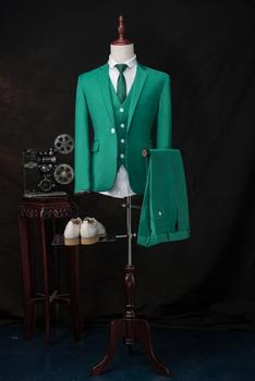 High Quality Groom Tuxedos Notch Lapel Groomsmen Back Vent Best Man Suit/Bridegroom/Wedding/Prom/Dinner Suits (Jacket+Pants+Vest