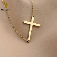Real 18K Au750 Yellow Rose White Solid Gold Christ Cross Chain Pendant Ncklaces For Women Girl Gift Free Engraving Dropship