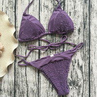 Nouvelle Bikinis Femmes String Maillots De Bain Sexy À Lacets Push Up Bikini ensemble Violet Taille Basse Maillot de Bain Maillot de bain Halter de Plage De Bain costume