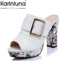 KarinLuna Große Größe 32-42 Mode Frauen Böhmen Blumendruck Hohe Ferse Sommer Schuhe frauen Party Hochzeit Offene spitze plattform Sandalen
