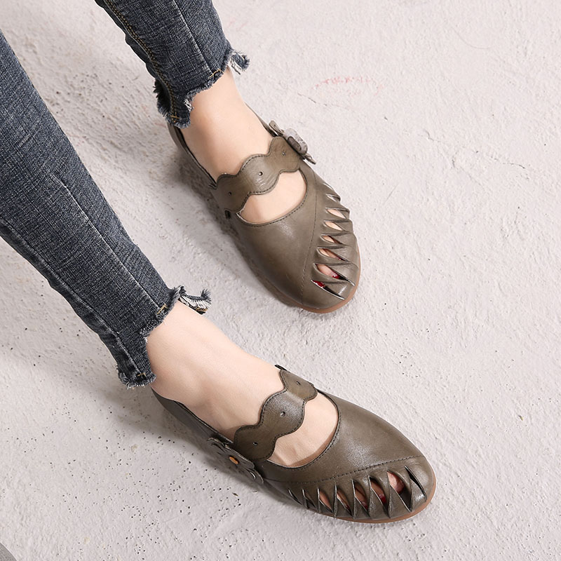 JELLYFOND Vintage Ladies Genuine Leather Flat Shoes Women Comfort Leather Flats for Women with Flowers Handmade Shoes Woman 2019