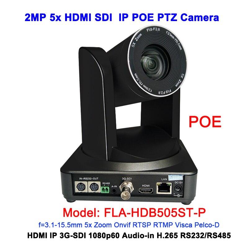 Colore nero 2MP full HD 1080 p 5X Professionale RJ45 POE IP HDMI 3G-sdi ptz della macchina fotografica per il web VC Sistema