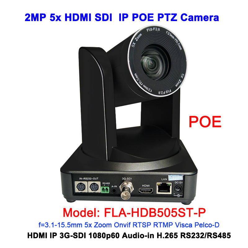 Noir Couleur 2MP full HD 1080 p 5X Professionnel RJ45 POE IP HDMI 3G-sdi ptz caméra pour web Système VC