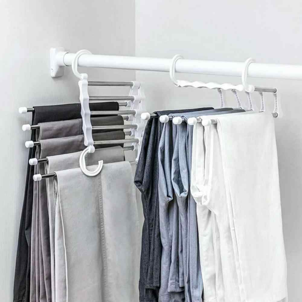 Drop ship 5 in 1 Multi-functional Pant Rack Shelves Space Safer Stainless Steel Magic Wardrobe Clothing Hangers For Clothes Rack
