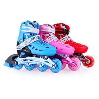 Single Flashing Roller Skates For Children PU Roller Sneakers Quad Skate Adjustable Slalom Inline Skates Shoes Good As SEBA IA70