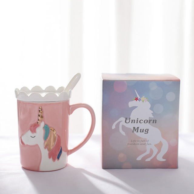 Creative 3D Unicorn Coffee Mug with Spoon and Crown