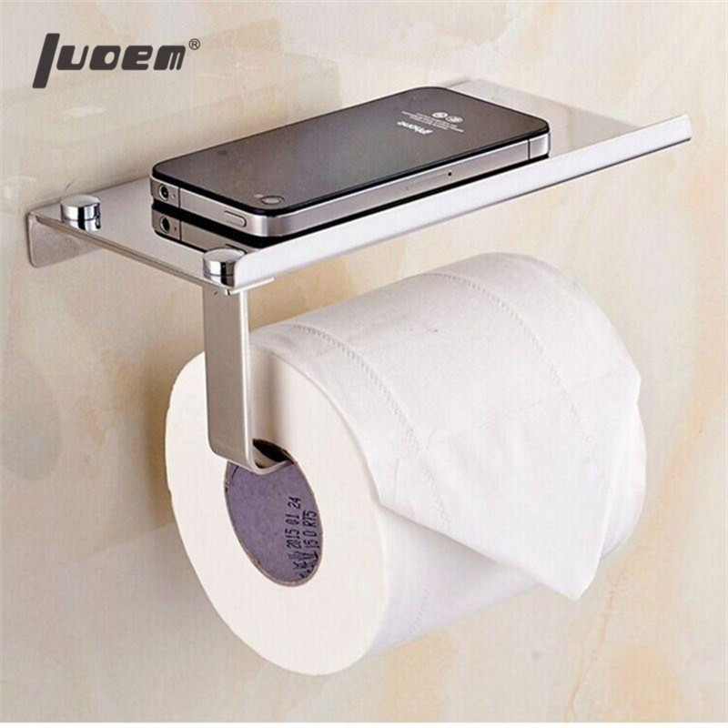 LUOEM Stainless Steel Toilet Paper Holder Paper Roll Hanger With Mobile Phone Storage Shelf Polished Chrome